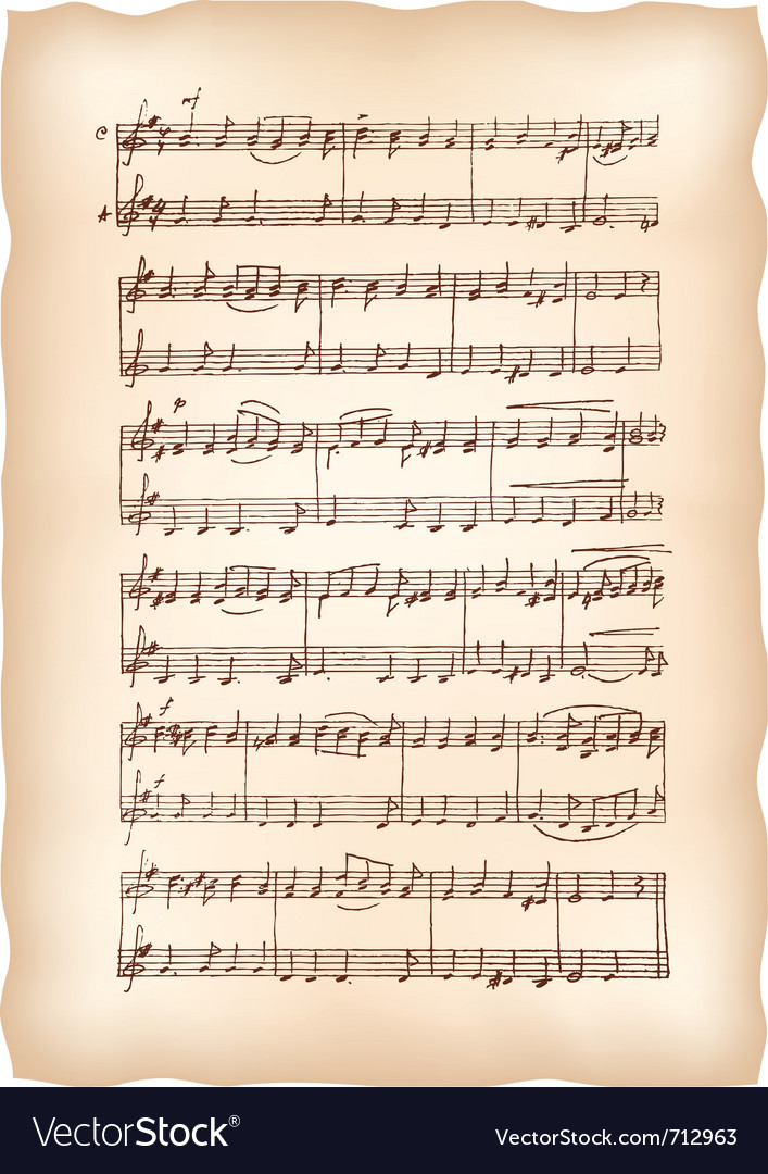 Vintage musical sheet vector | Price: 1 Credit (USD $1)