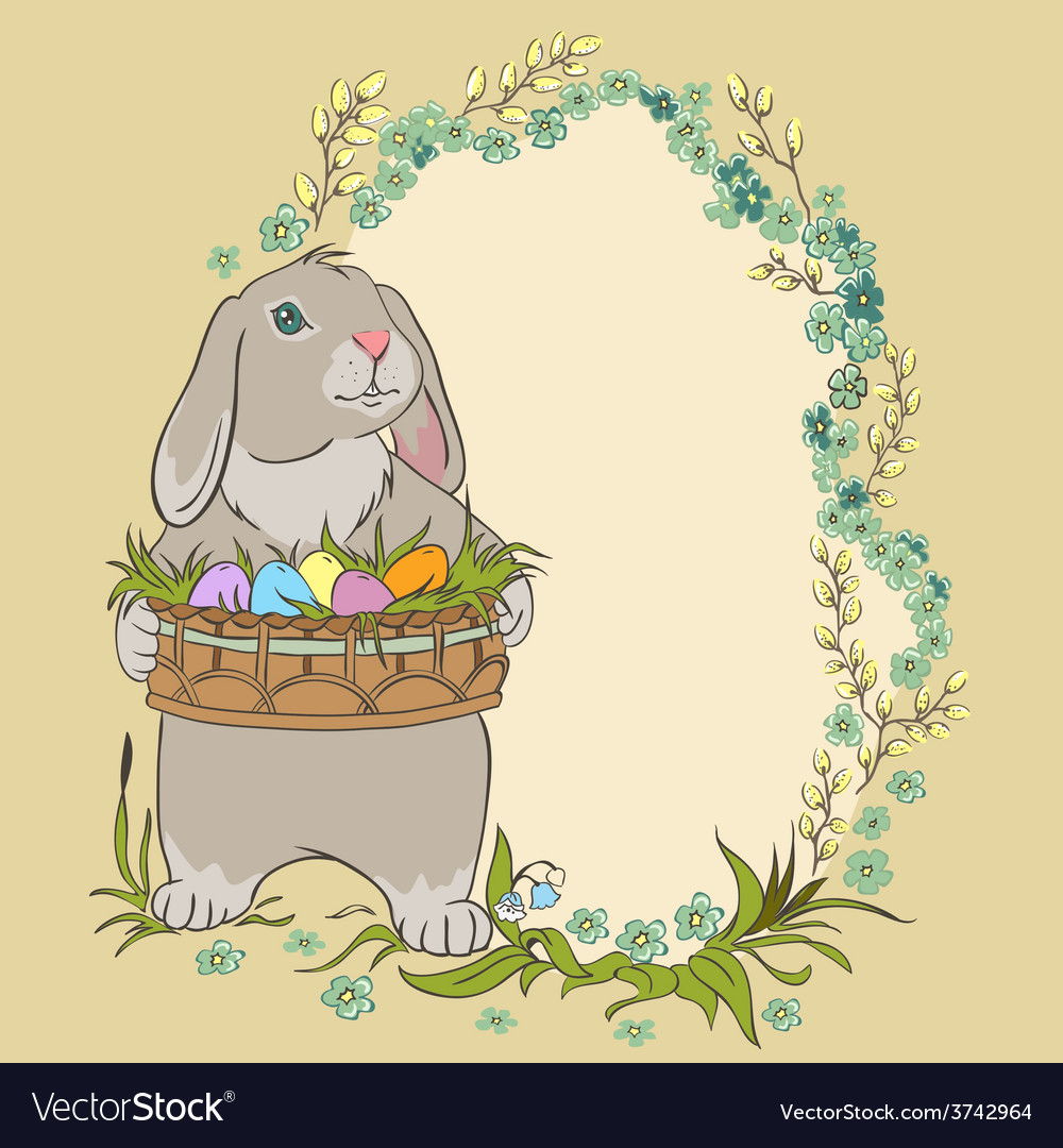 Easter bunny holding a basket with eggs retro vector | Price: 1 Credit (USD $1)