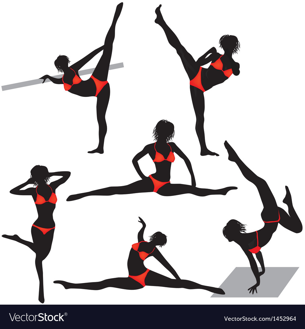 Girl sport woman in gym in yoga poses vector | Price: 1 Credit (USD $1)