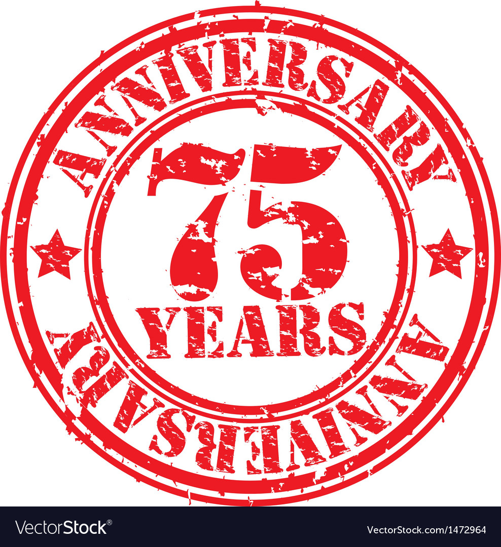 Grunge 75 years anniversary rubber stamp vector | Price: 1 Credit (USD $1)