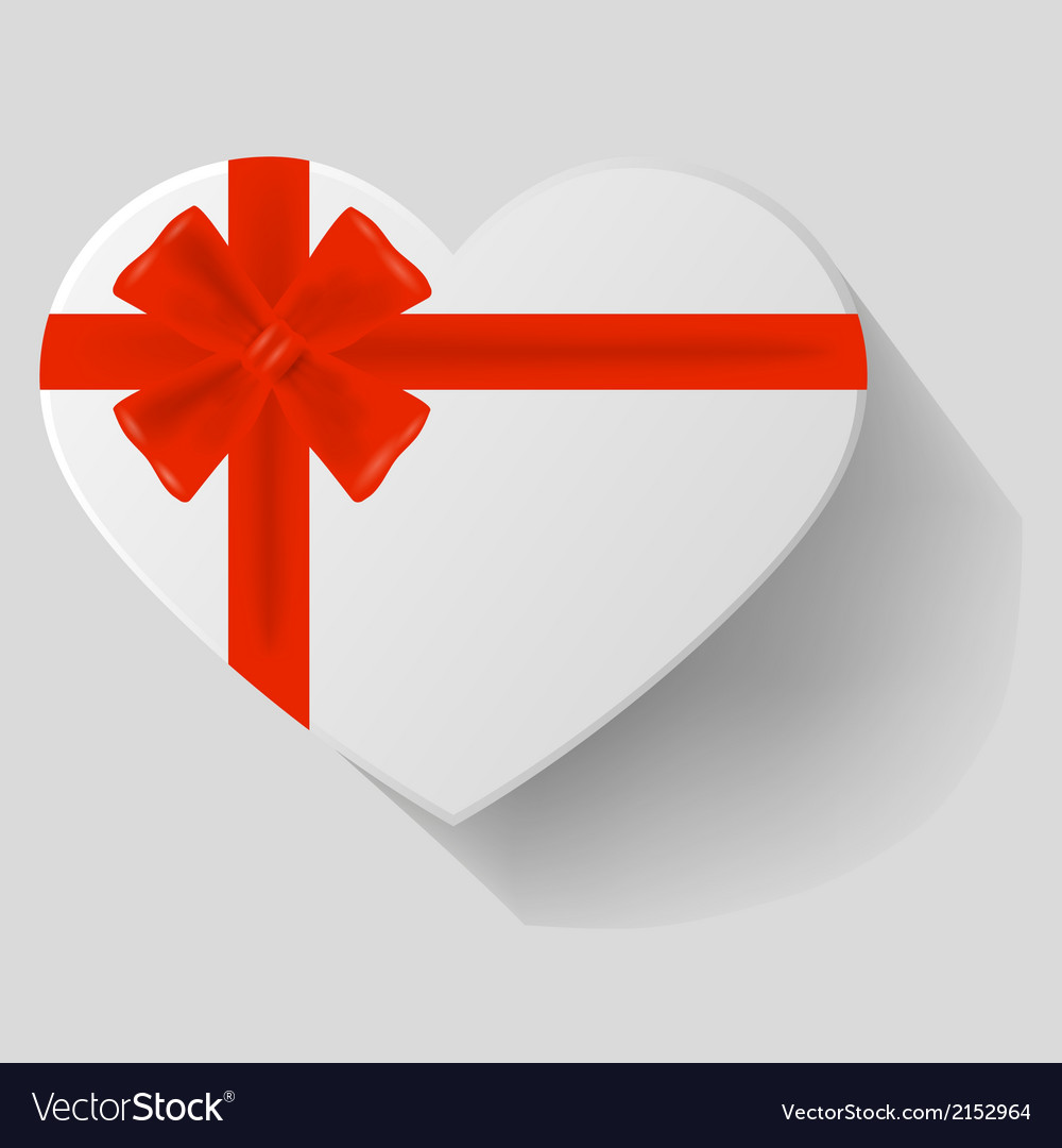 Heart-shaped gift with red bow vector | Price: 1 Credit (USD $1)