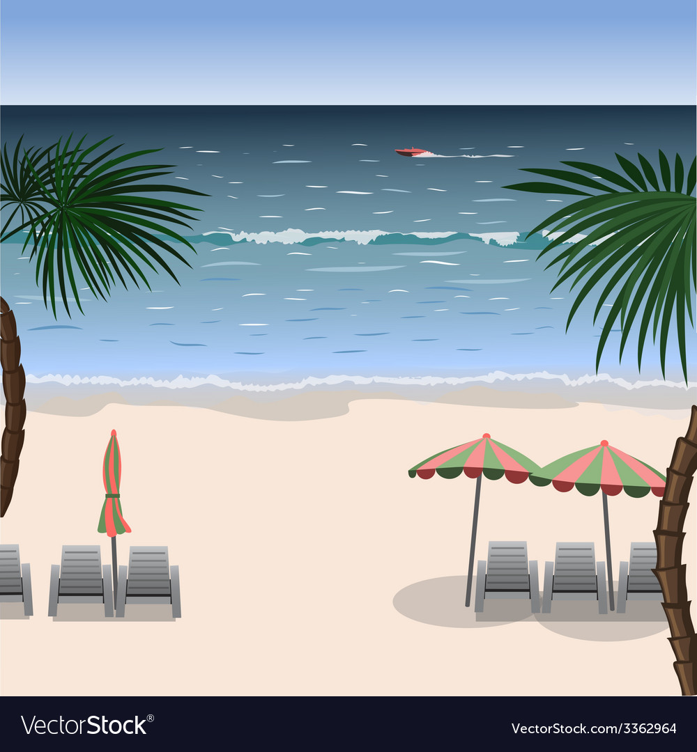 Landscape of a beach with white sand sea vector | Price: 1 Credit (USD $1)
