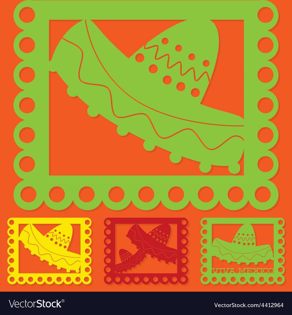 Mexican papel picado paper flag decoration set in vector | Price: 1 Credit (USD $1)