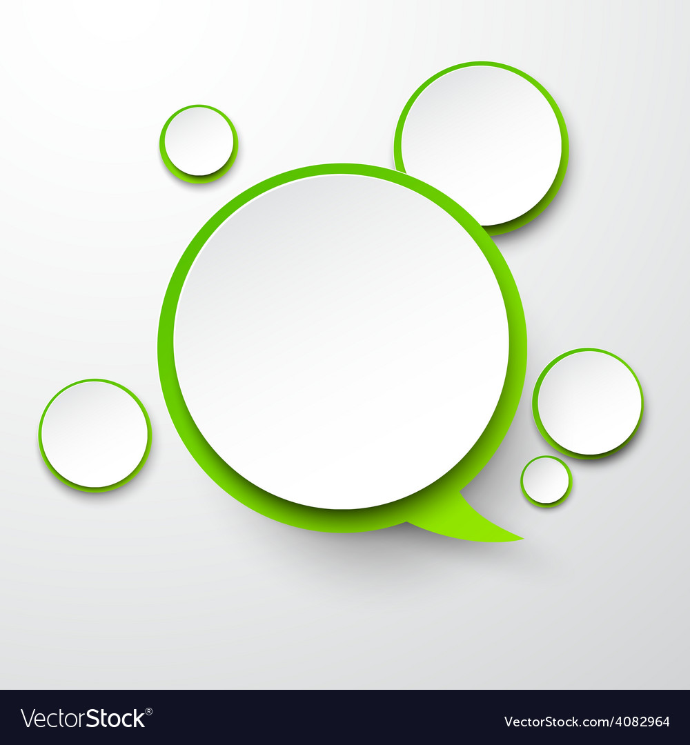 Paper white-green round speech bubbles vector | Price: 1 Credit (USD $1)