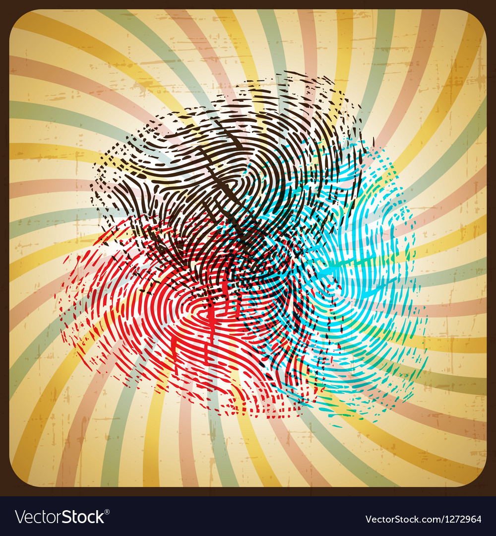 Poster in retro style with colored fingerprint vector | Price: 1 Credit (USD $1)