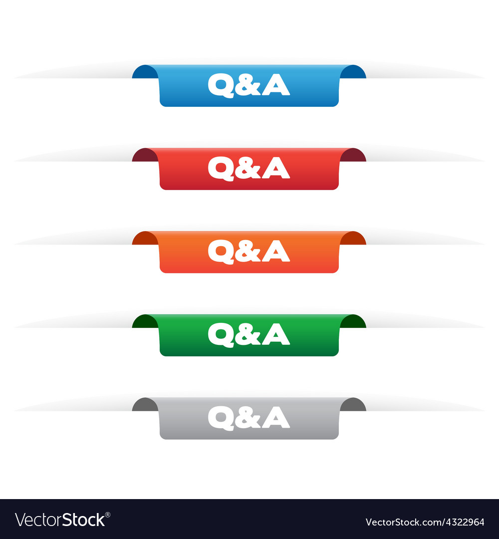 Question and answer paper tag labels vector | Price: 1 Credit (USD $1)
