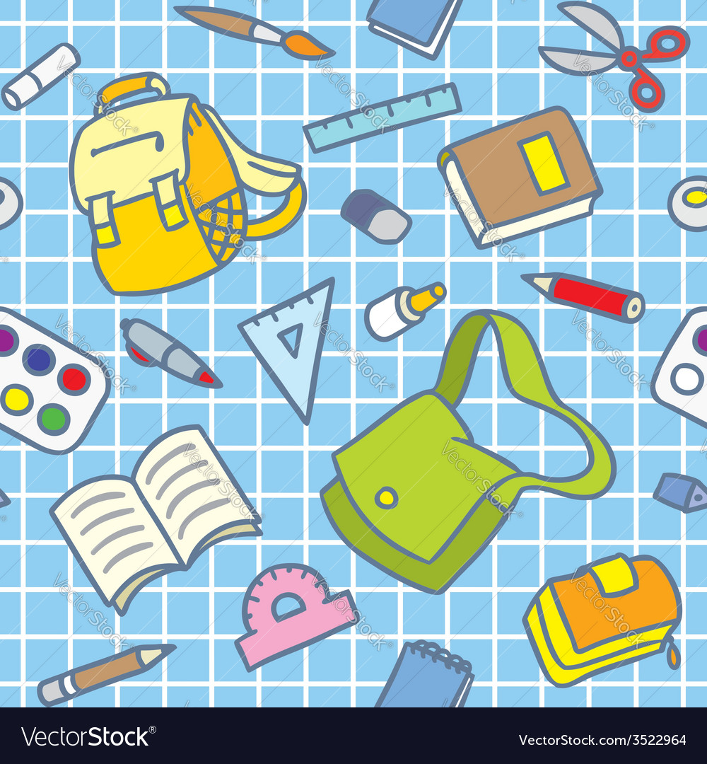 School pattern with education supplies vector | Price: 1 Credit (USD $1)