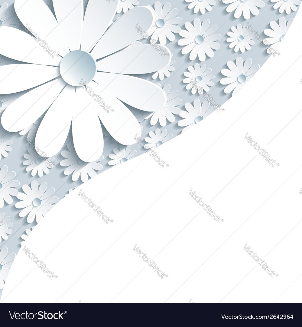 Stylish gray background with 3d white chamomile vector | Price: 1 Credit (USD $1)