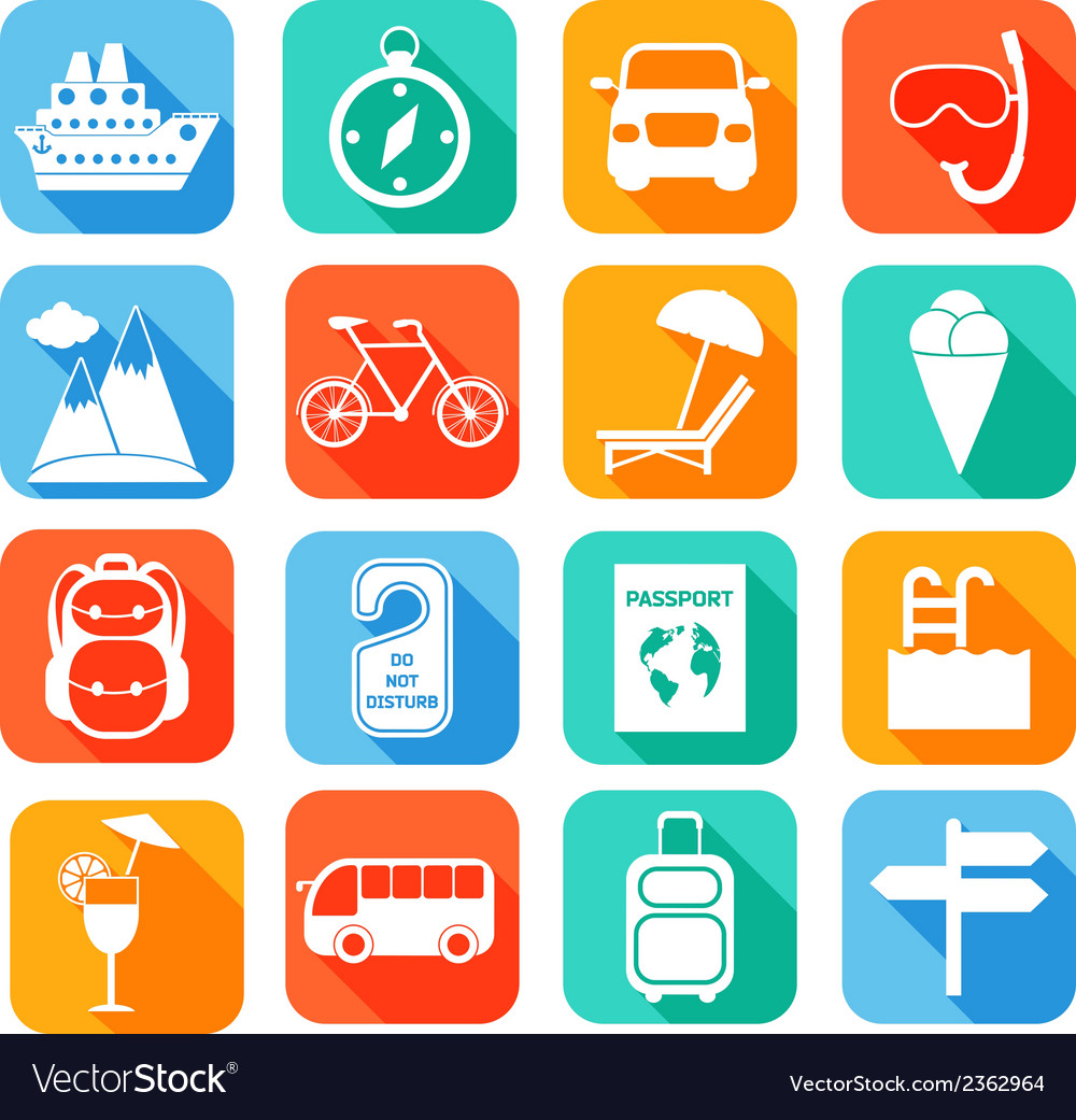 Travel flat icons set vector | Price: 1 Credit (USD $1)