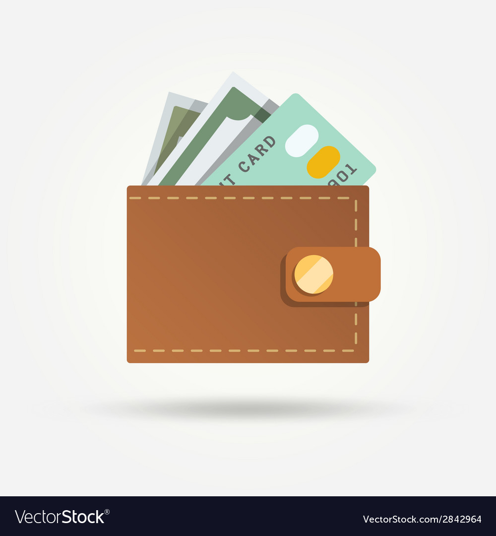 Wallet with money isolated vector | Price: 1 Credit (USD $1)