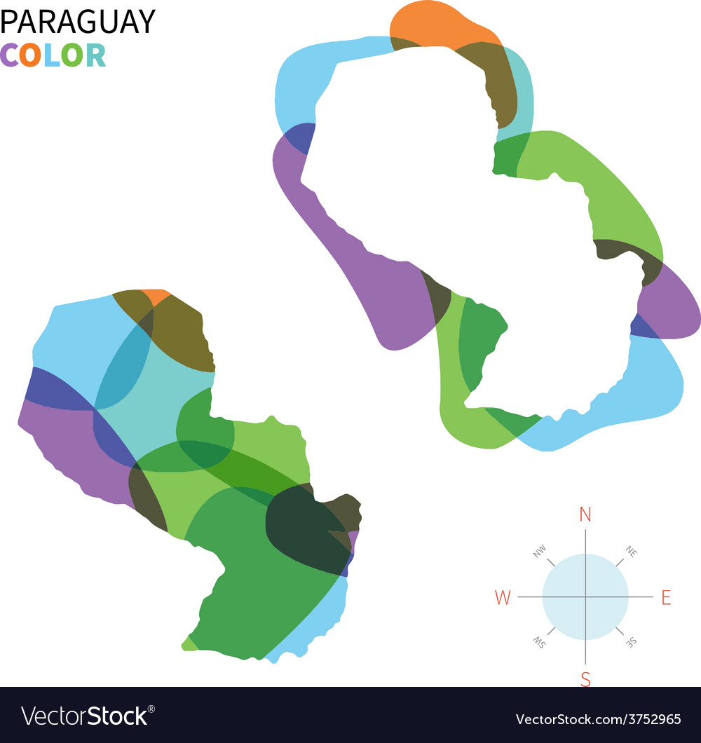 Abstract color map of paraguay vector   Price: 1 Credit (USD $1)