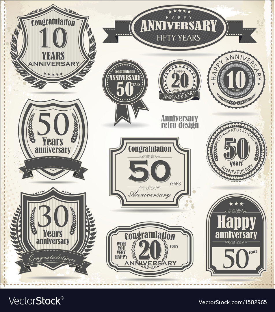 Anniversary badges and labels retro design vector | Price: 1 Credit (USD $1)