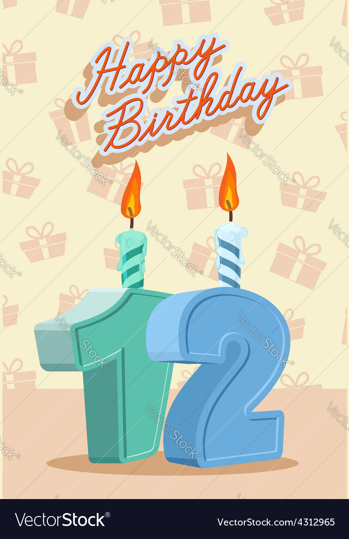 Birthday candle number 12 with flame vector | Price: 1 Credit (USD $1)