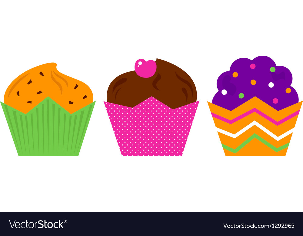 Birthday muffin set isolated on white vector | Price: 1 Credit (USD $1)