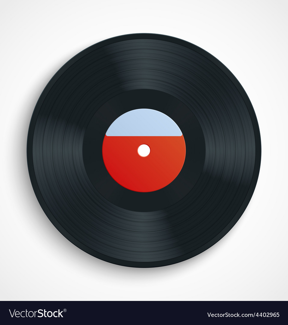 Black vinyl record disc with blank label in red vector | Price: 1 Credit (USD $1)