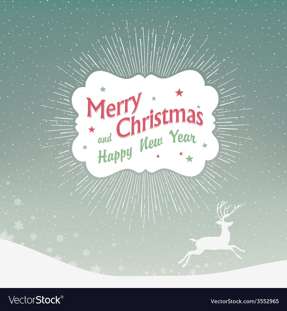 Christmas card with deer silhouette vector | Price: 1 Credit (USD $1)