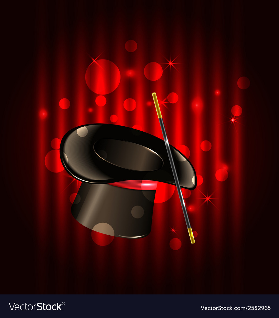 Magic background with top hat and wand vector | Price: 1 Credit (USD $1)