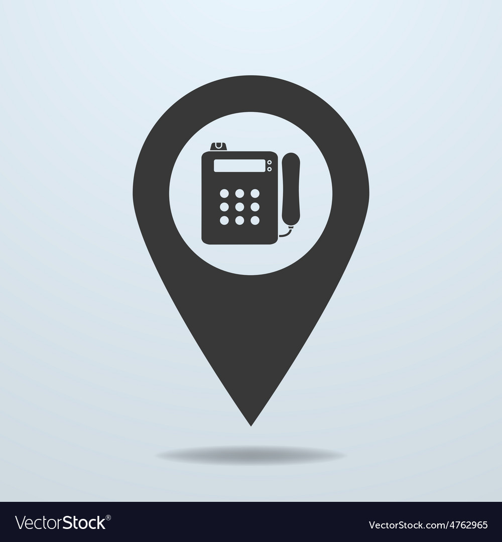Map pointer with a payphone symbol vector | Price: 1 Credit (USD $1)