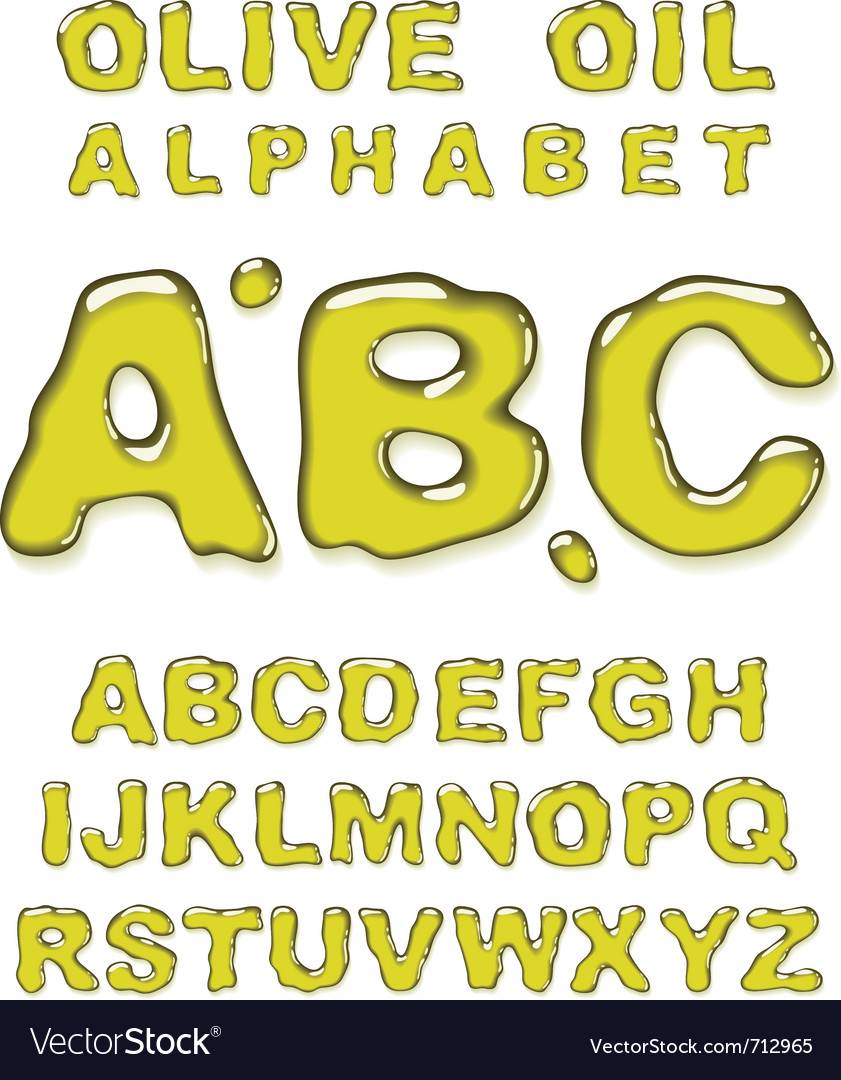Olive oil alphabet letters vector | Price: 3 Credit (USD $3)