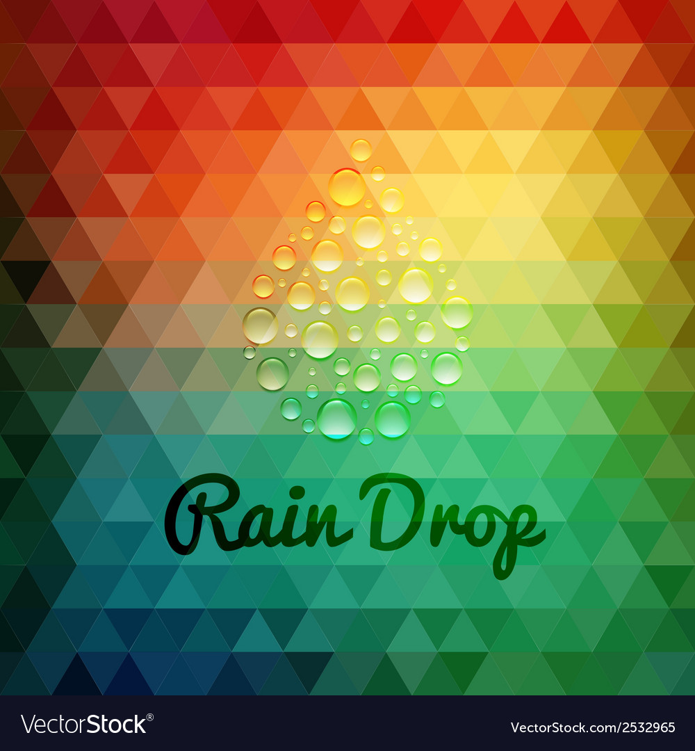 Retro styled rain drop design card vector | Price: 1 Credit (USD $1)