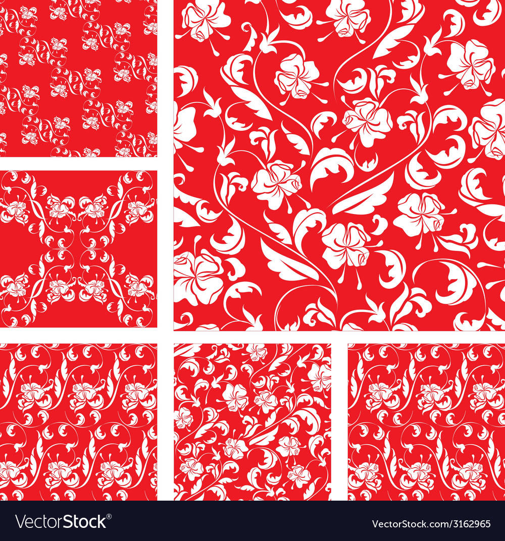 Set of vintage ornate seamless patterns with white vector | Price: 1 Credit (USD $1)