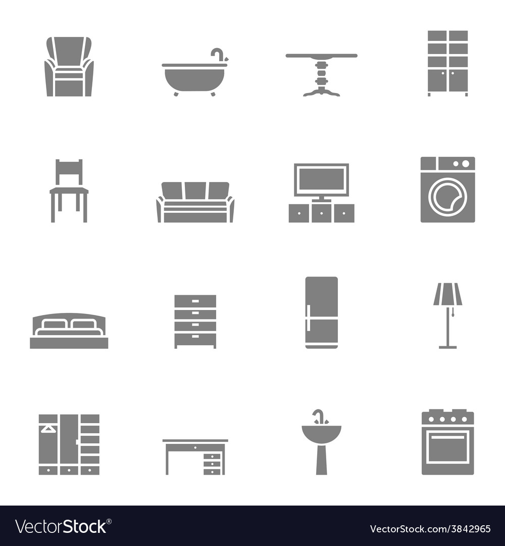 Silhouette home furniture icons set vector | Price: 1 Credit (USD $1)