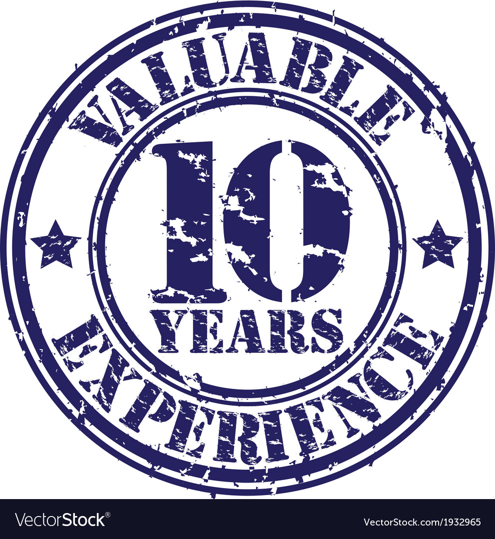 Valuable 10 years of experience rubber stamp vect vector | Price: 1 Credit (USD $1)