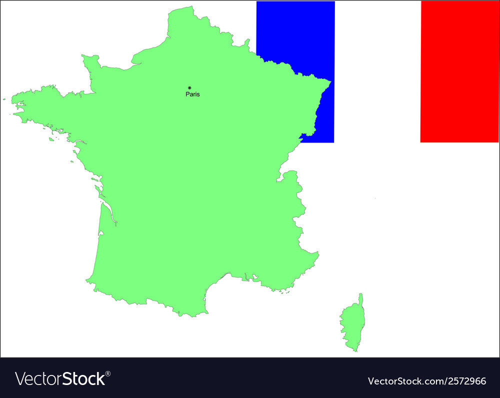 6145 france map and flag vector | Price: 1 Credit (USD $1)