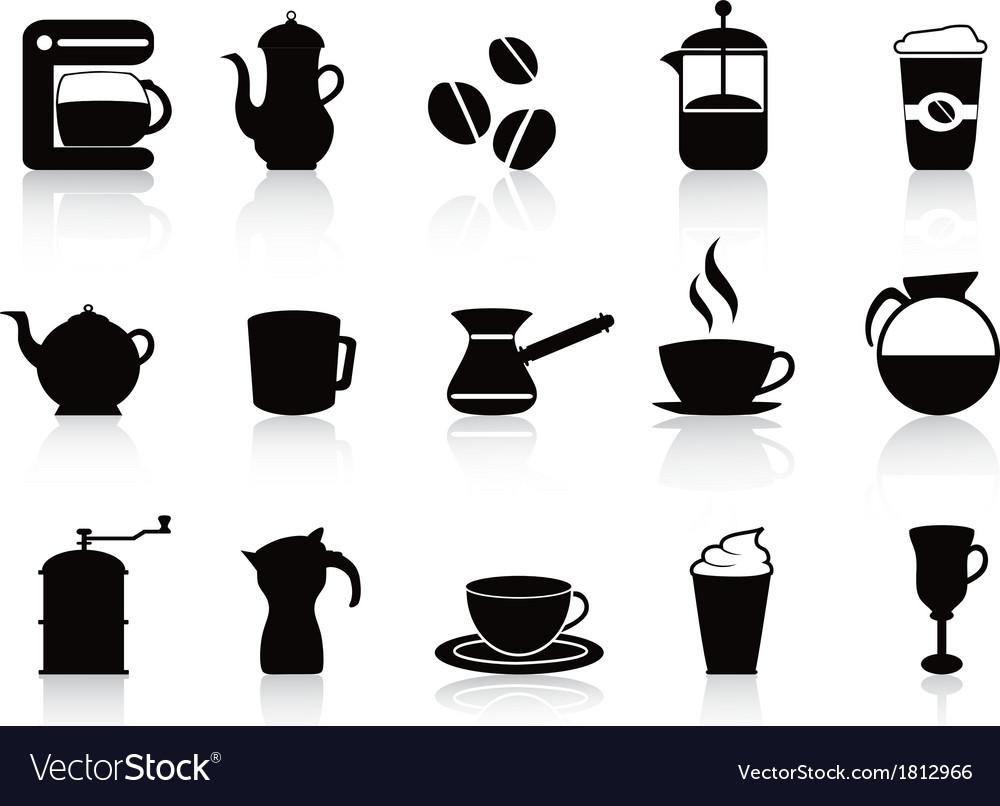 Black coffee icons set vector | Price: 1 Credit (USD $1)