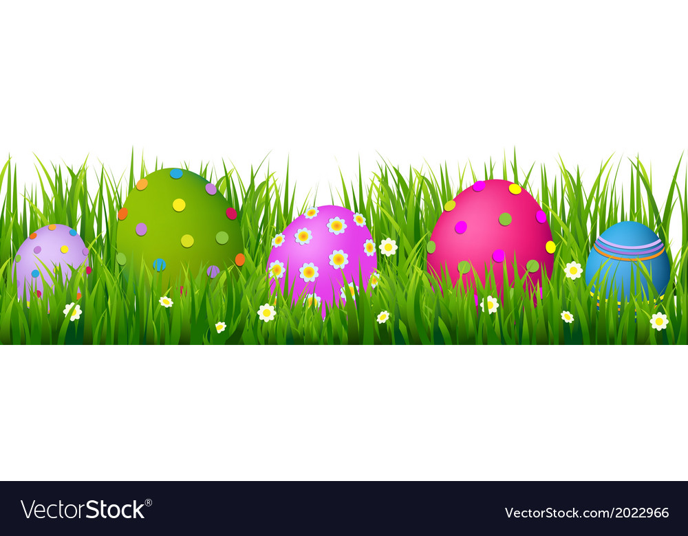 Border with grass and eggs easter card vector | Price: 1 Credit (USD $1)