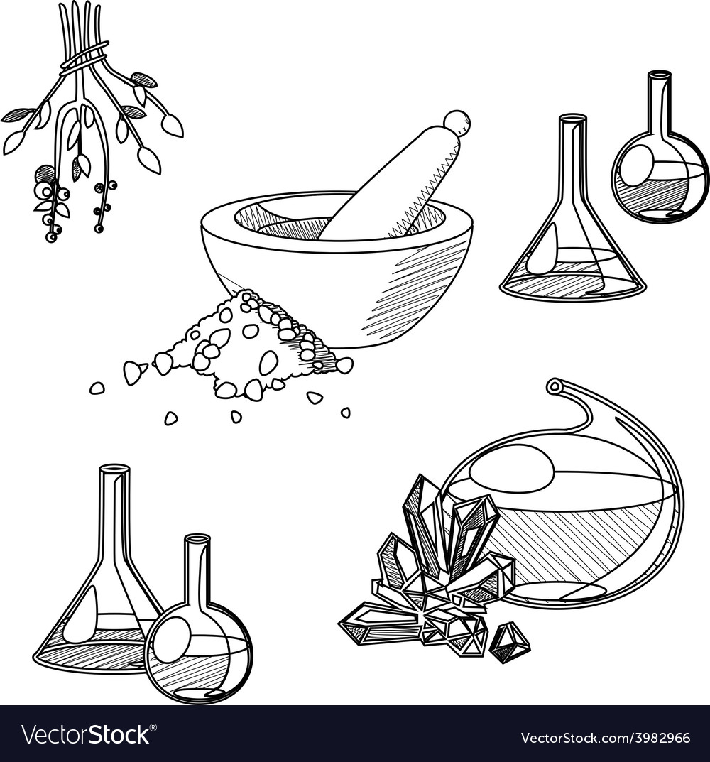 Chemists tools set vector | Price: 1 Credit (USD $1)