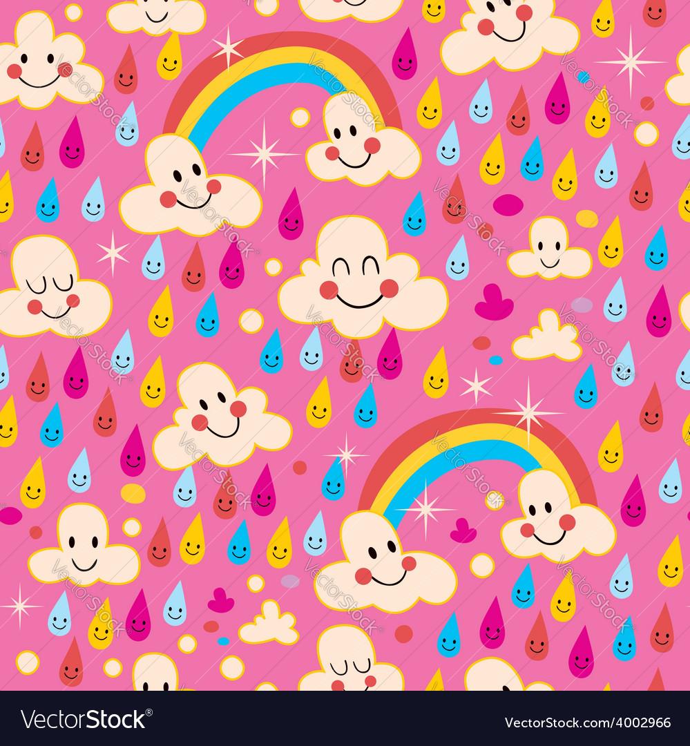 Clouds rainbows rain drops pattern vector | Price: 1 Credit (USD $1)