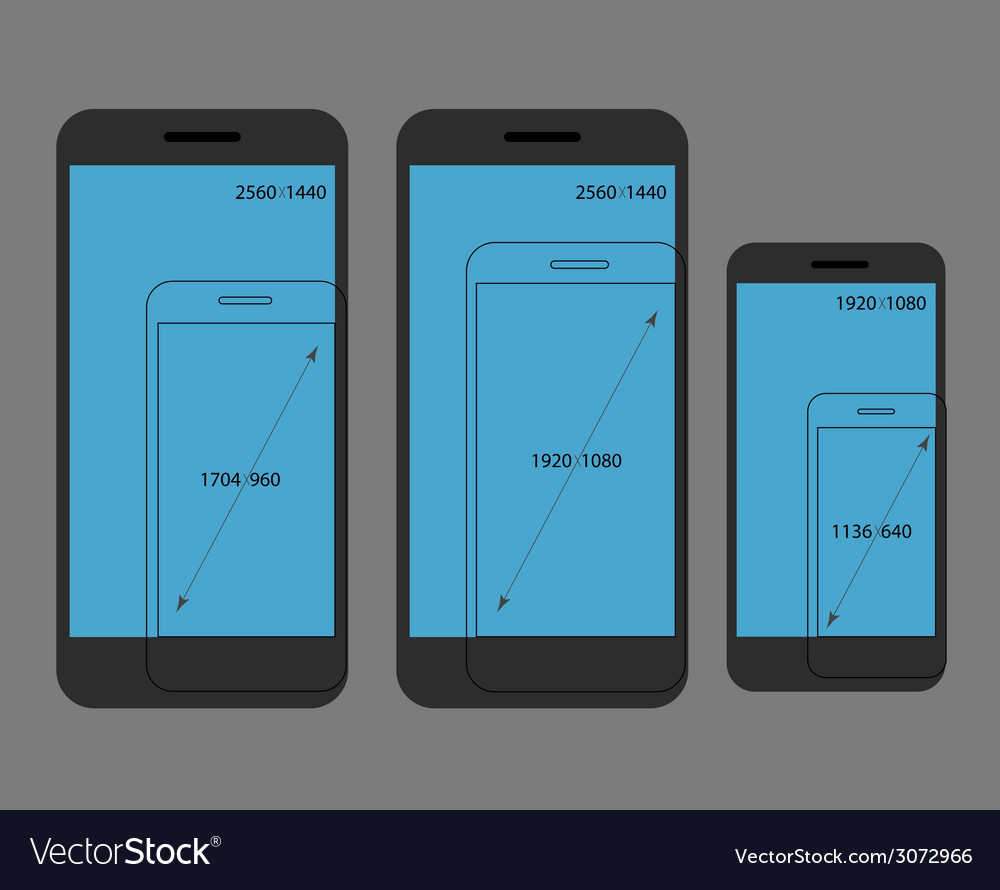 Different modern smartphone resolutions comparison vector | Price: 1 Credit (USD $1)