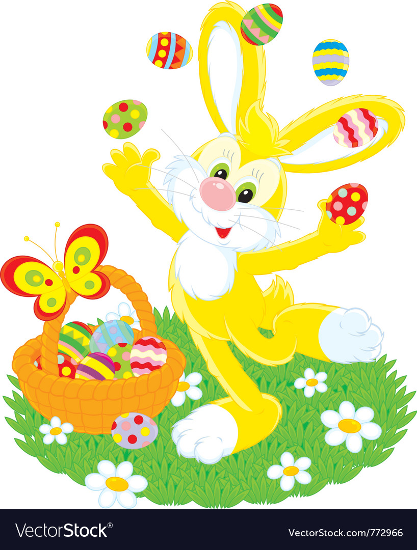 Easter bunny juggles painted eggs vector | Price: 3 Credit (USD $3)
