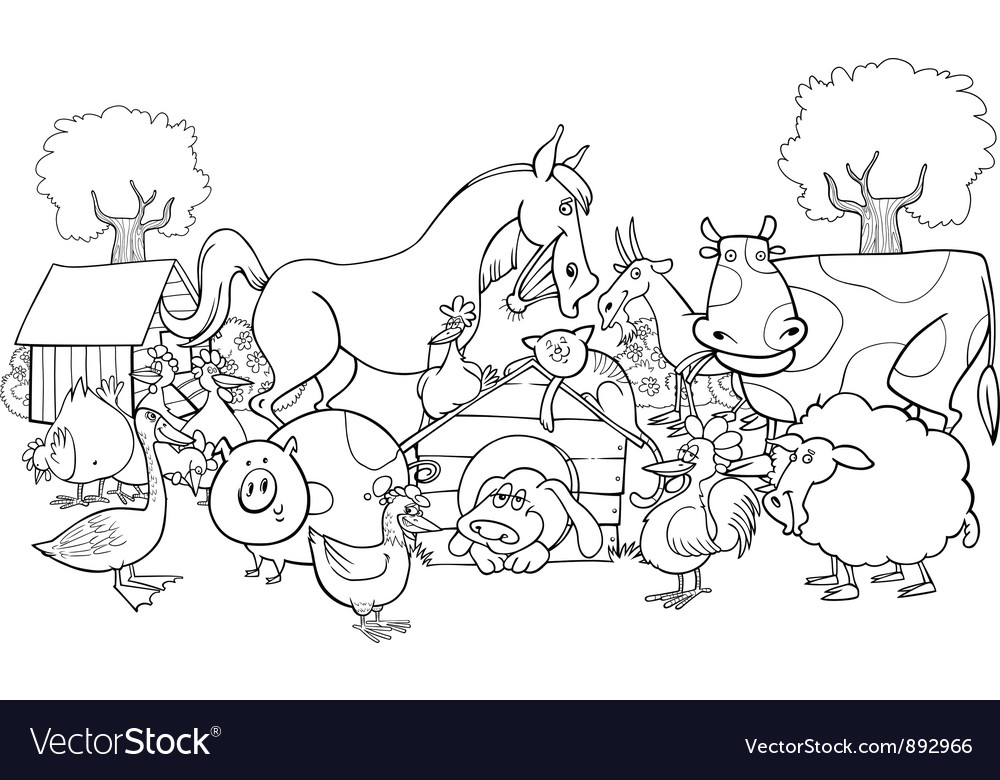 Farm animals for coloring vector | Price: 1 Credit (USD $1)