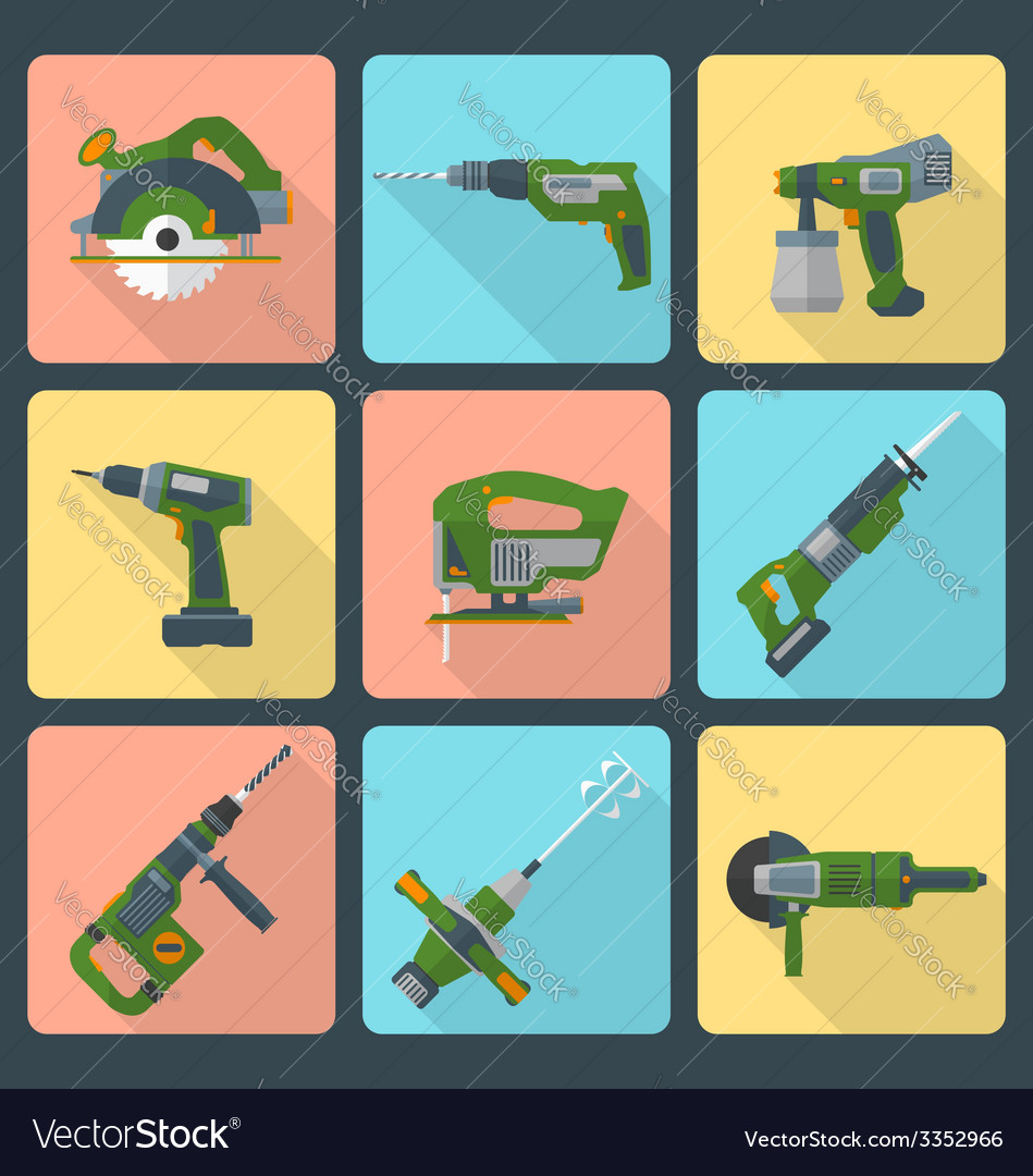 Flat house remodel power tools icons vector | Price: 1 Credit (USD $1)