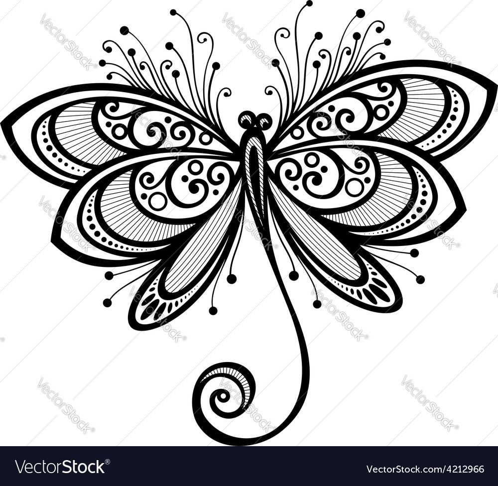 Ornate dragonfly design vector | Price: 1 Credit (USD $1)