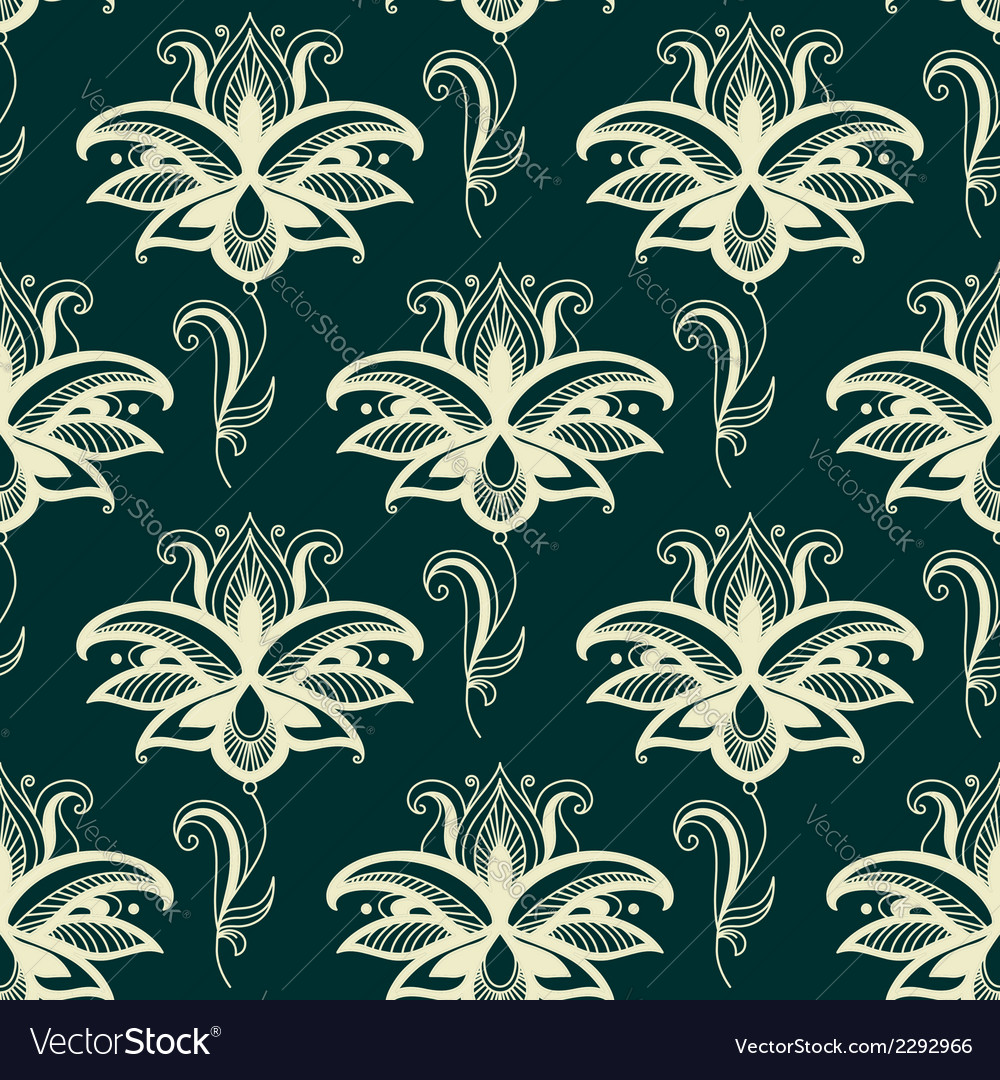 Persian paisley floral seamless pattern vector | Price: 1 Credit (USD $1)