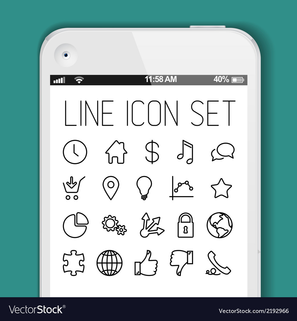Simple modern thin icon collection for smart phone vector | Price: 1 Credit (USD $1)