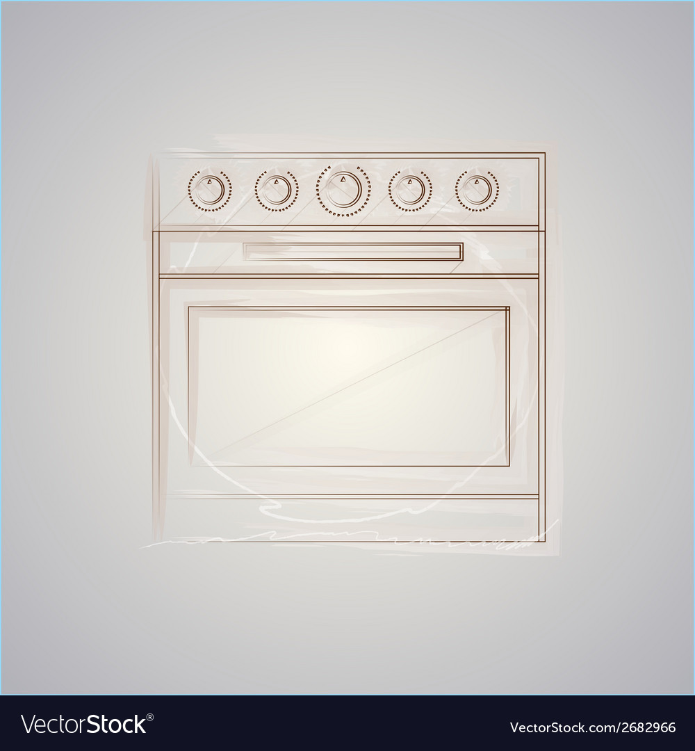 Sketch of oven vector | Price: 1 Credit (USD $1)