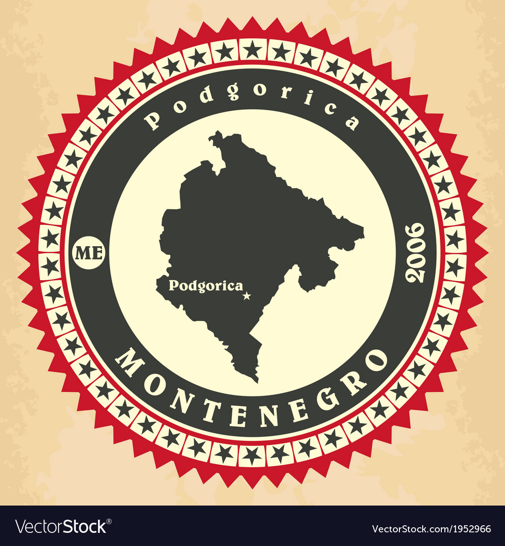 Vintage label-sticker cards of montenegro vector | Price: 1 Credit (USD $1)