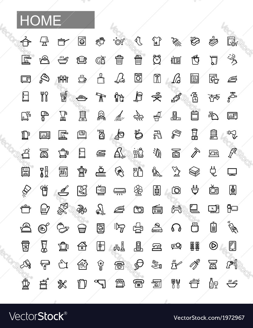 Black home appliances icons set vector | Price: 1 Credit (USD $1)