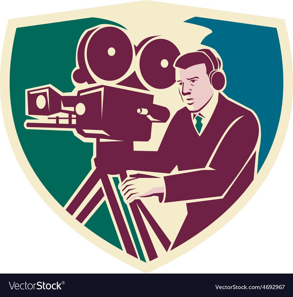 Cameraman moviemaker vintage camera shield vector   Price: 1 Credit (USD $1)