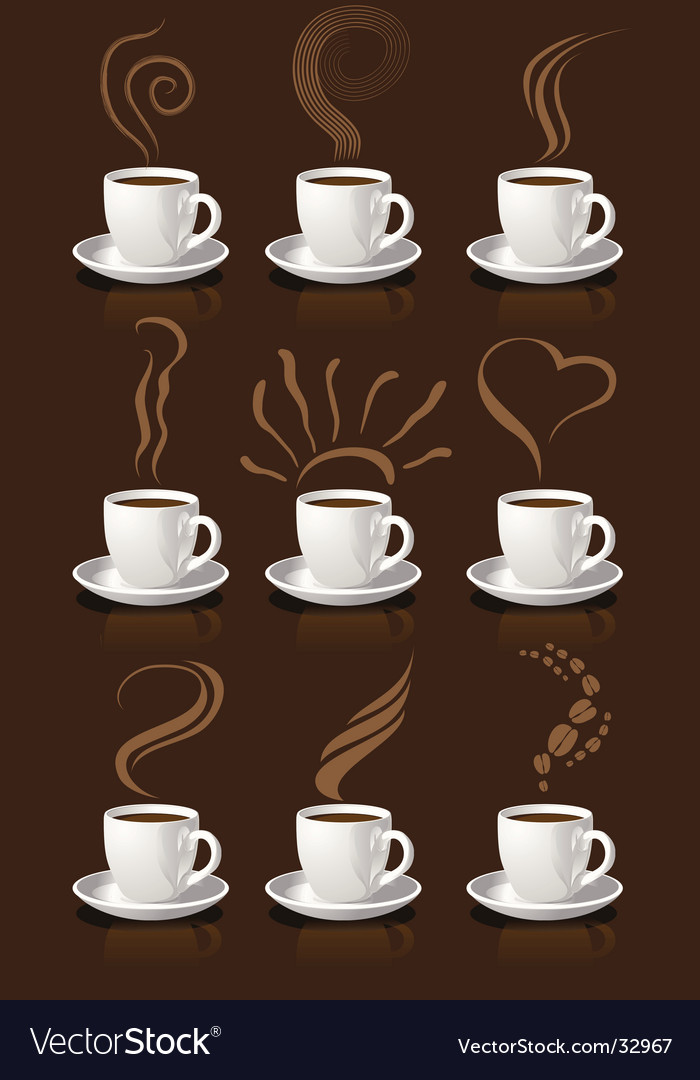 Coffee cups and steam vector | Price: 1 Credit (USD $1)