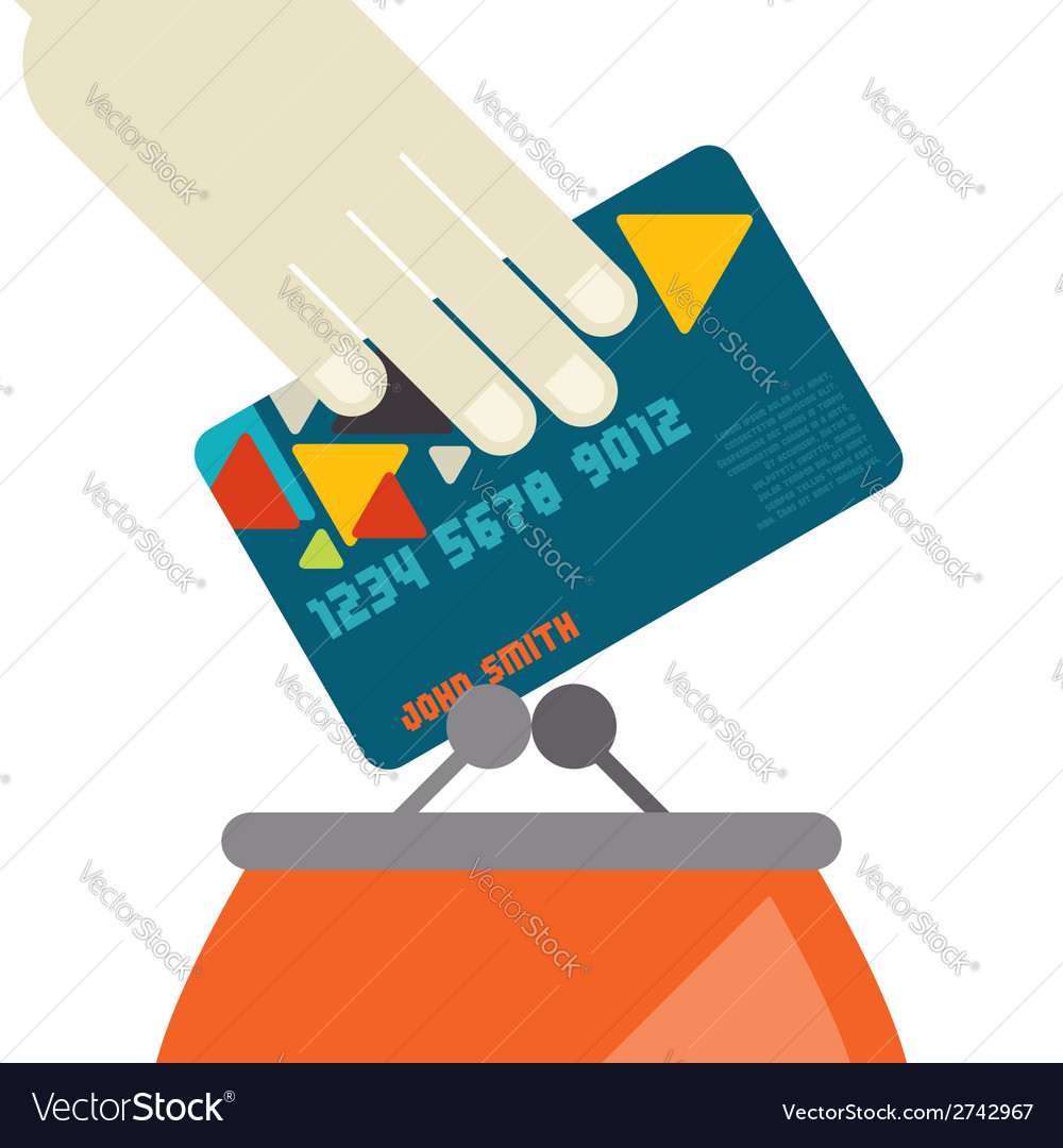 Credit card and purse in flat design style vector | Price: 1 Credit (USD $1)