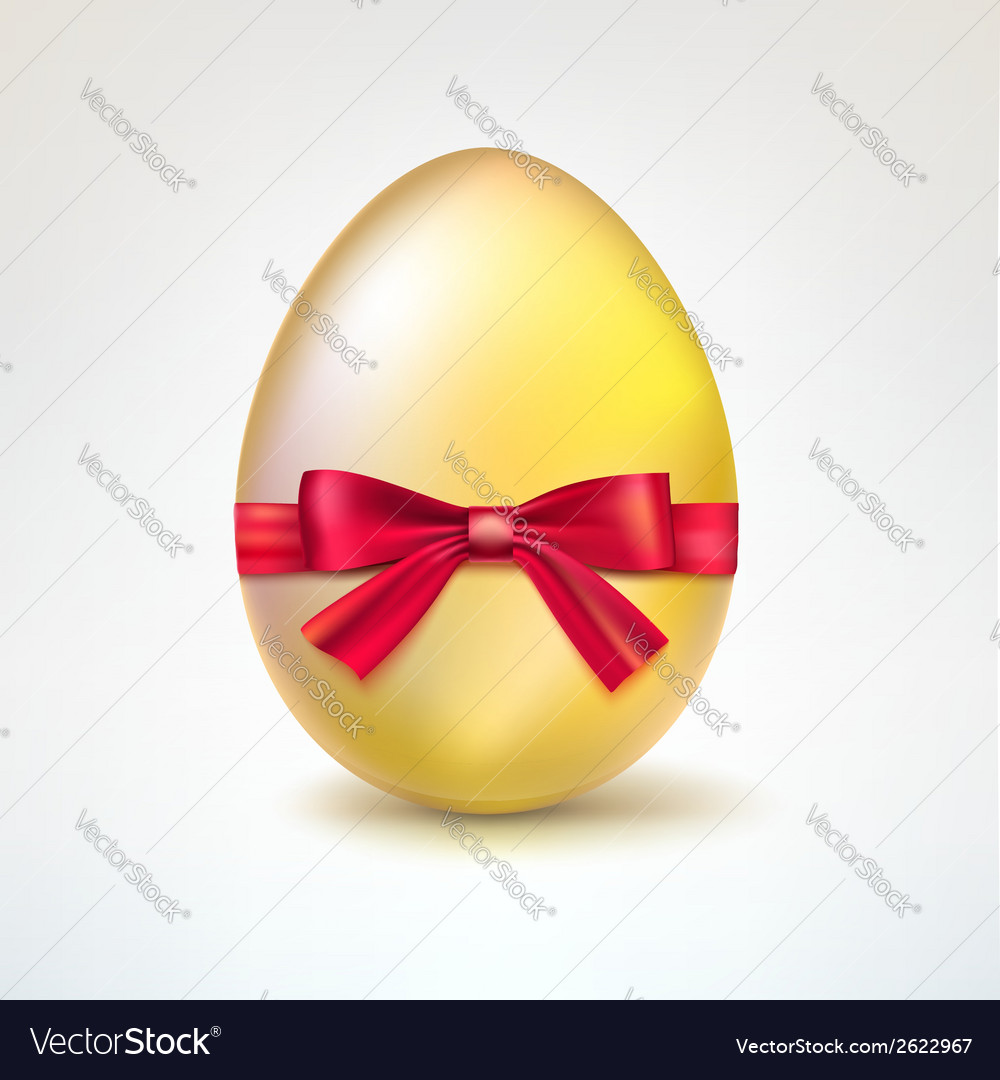 Golden egg with red bow vector | Price: 1 Credit (USD $1)