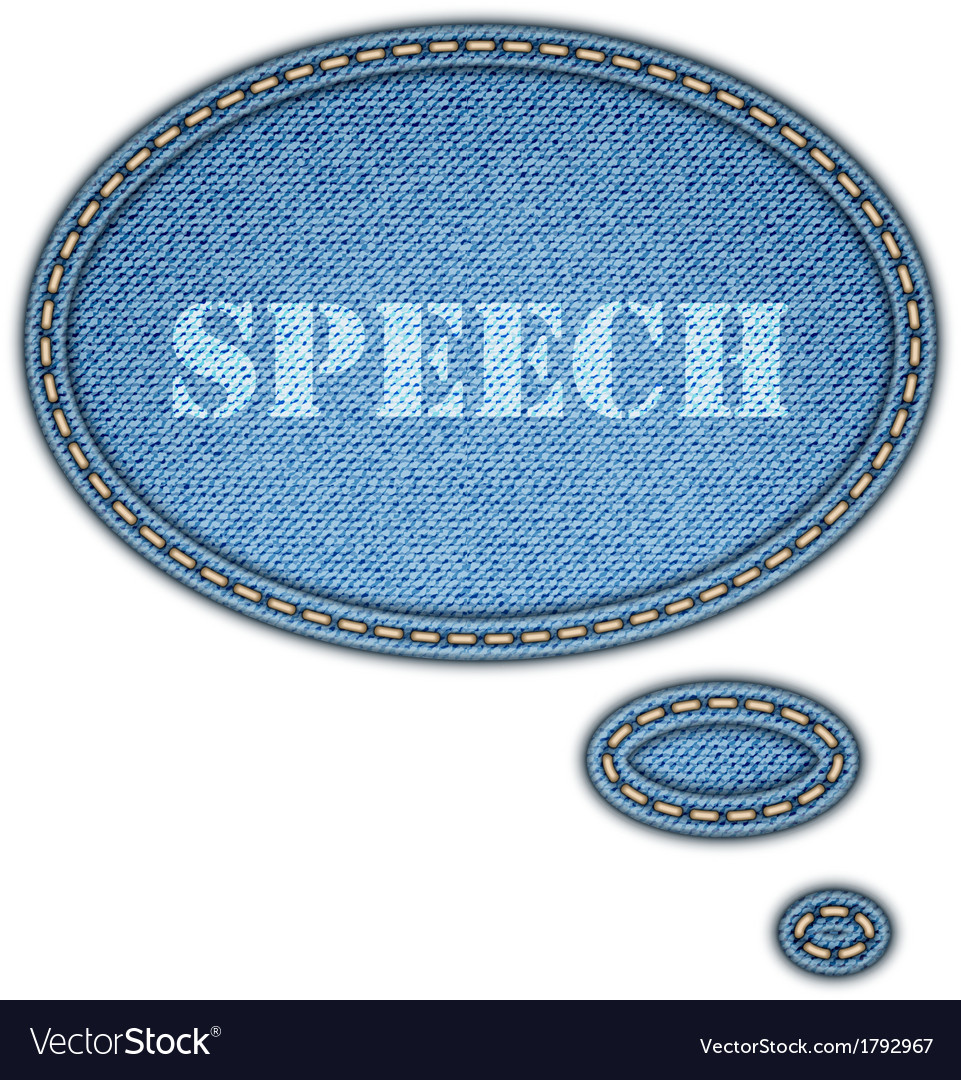 Jeans texture background speech bubble stickers vector | Price: 1 Credit (USD $1)