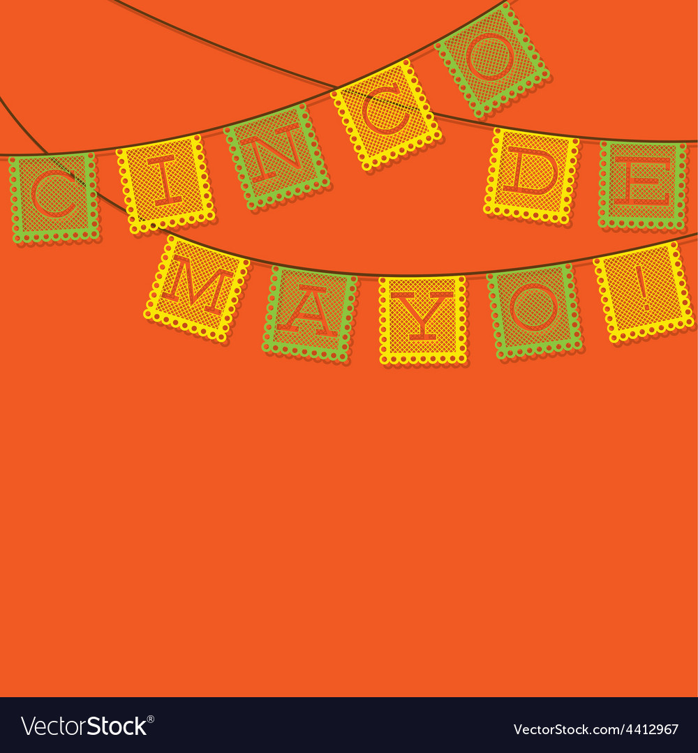 Mexican papel picado paper flag decoration card in vector | Price: 1 Credit (USD $1)