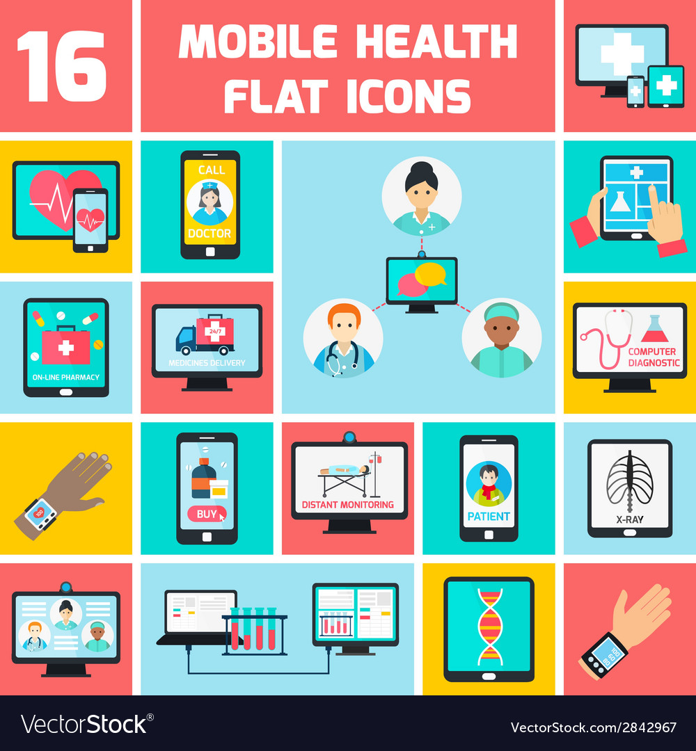 Mobile health icons set vector | Price: 1 Credit (USD $1)