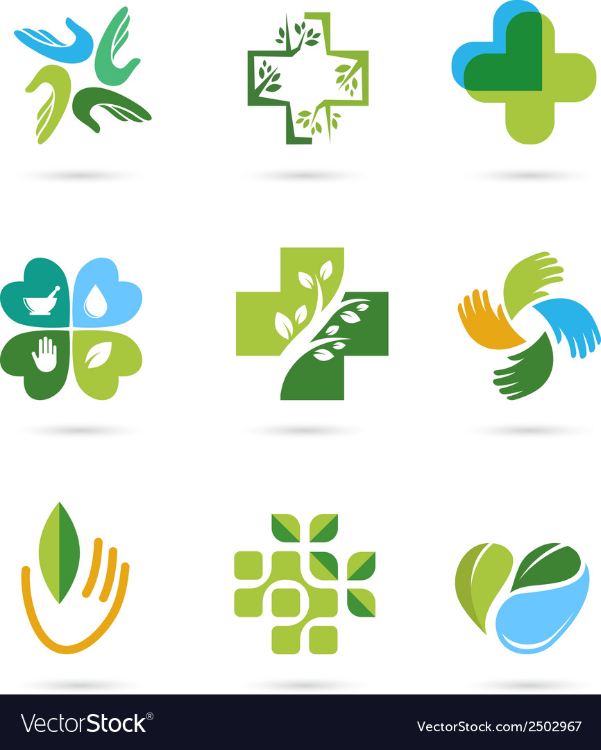 Natural alternative herbal medicine icons vector | Price: 1 Credit (USD $1)